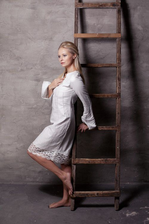 balta kleita, balta lina kleita, linen dress, white linen dress