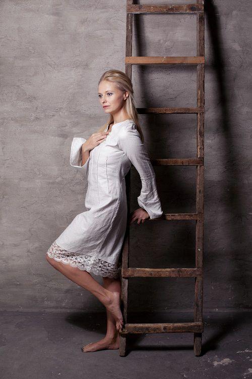 balta kleita, balta lina kleita, linen dress, white linen dress